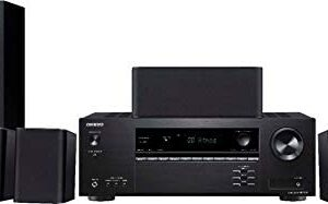 Onkyo HT-S3910 Home Audio Theater Receiver and Speaker Package, Front/Center Speaker, 4 Surround Speakers, Subwoofer and Receiver, 4K Ultra HD (2019 Model)
