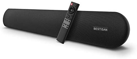 Soundbar, BESTISAN 80 Watts TV Sound Bar Home Theater Speaker with Dual Connection Way, Bluetooth 5.0, Movie/Music/Dialogue Audio Mode, Enhanced Bass Technology, Bass Adjustable, Wall Mountable