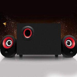 Plyisty Wooden 2.1 Multimedia Desktop Speaker, FT-X7 Computer Speakers, 360° Stereo for Laptop Tablet PC Desktop(Red Circle Black)