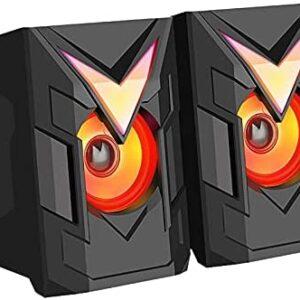 YUUAND Wired Speaker for Multimedia Desktop Computer Audio Home Desktop RGB Colorful USB Speaker Helmet Shape