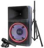 """Gemini Sound GSP-L2200PK Indoor Outdoor Ultra Powerful Bluetooth 2200W Watts Peak Speaker, 15"""" Inch Woofer, LED Party Lights, Built in Media Player, FM Radio, USB/SD Card/Microphone, Speaker Stand"""