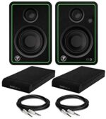 Mackie CR3-XBT 3-Inch Multimedia Monitors with Bluetooth (Pair) Bundle with Knox Gear Studio Monitor Isolation Pads