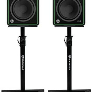 """2) Mackie CR5-X 5"""" Reference Multimedia Studio Monitor Speakers+Stands+Foam Pads"""