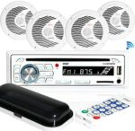 """Marine Stereo Receiver Speaker Kit - in-Dash LCD Digital Console Built-in Bluetooth & Microphone 6.5"""" Waterproof Speakers (4) w/ MP3/USB/SD/AUX/FM Radio Reader & Remote Control - Pyle PLCDBT85MRW"""