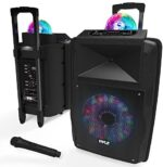 """Wireless Portable PA Speaker System - 700 W Battery Powered Rechargeable Sound Speaker and Microphone Set with Bluetooth MP3 USB Micro SD FM Radio AUX 1/4"""" DJ lights - For PA / Party - Pyle PSUFM1280B"""