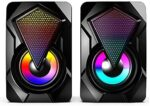 Forutime Computer Speakers,Wired PC Speaker 2.0 USB Gaming Powered Stereo Mini Multimedia Volume Control with RGB Lights 3.5mm Aux Input for Phone Tablets Desktop Laptop